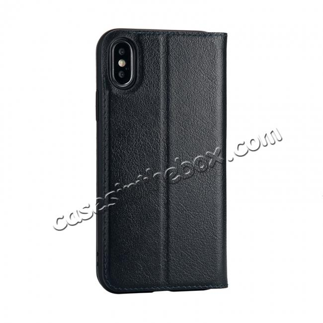 cheap Luxury Genuine Leather Stand Case Dual Window View for iPhone X - Dark Blue