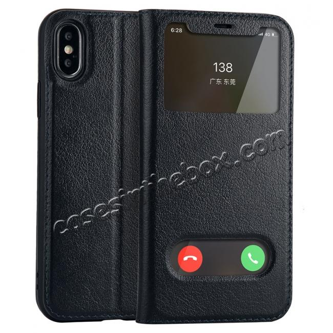 wholesale Luxury Genuine Leather Stand Case Dual Window View for iPhone X - Dark Blue