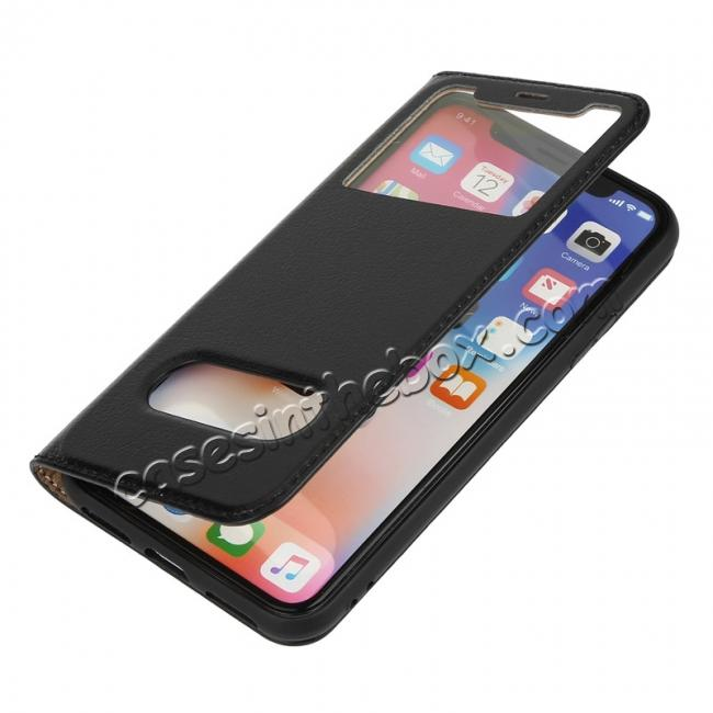 top quality Luxury Genuine Leather Stand Case Dual Window View for iPhone X - Dark Blue