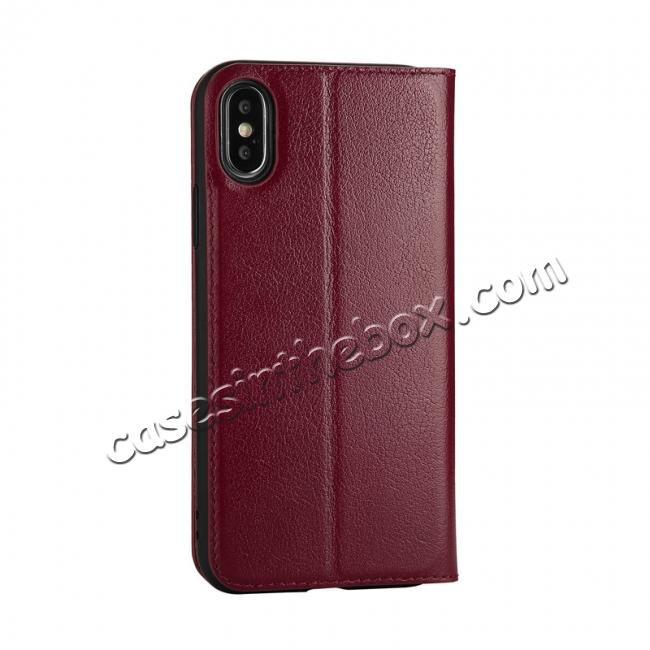 cheap Luxury Genuine Leather Stand Case Dual Window View for iPhone X - Wine Red
