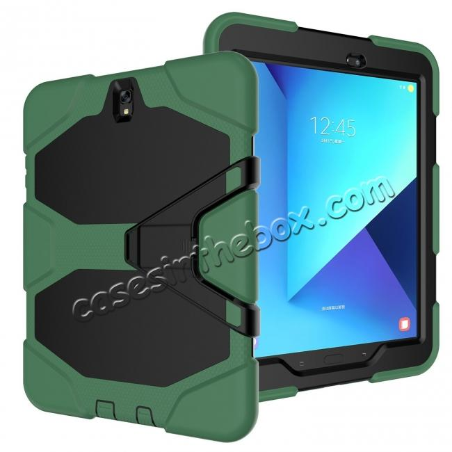 discount PC+Silicone Hybrid Kickstand Rugged Armor Case for Samsung Galaxy S3 9.7 T820/825 - Army Green