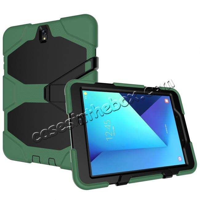 cheap PC+Silicone Hybrid Kickstand Rugged Armor Case for Samsung Galaxy S3 9.7 T820/825 - Army Green
