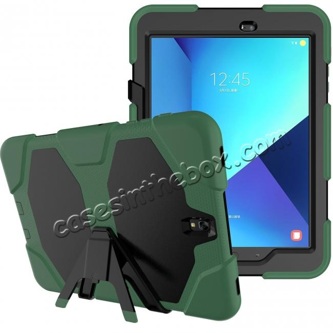 top quality PC+Silicone Hybrid Kickstand Rugged Armor Case for Samsung Galaxy S3 9.7 T820/825 - Army Green