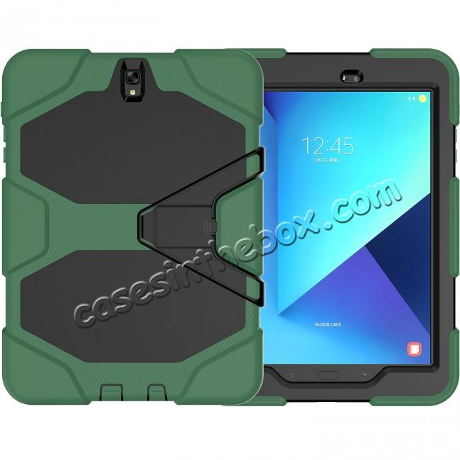wholesale PC+Silicone Hybrid Kickstand Rugged Armor Case for Samsung Galaxy S3 9.7 T820/825 - Army Green