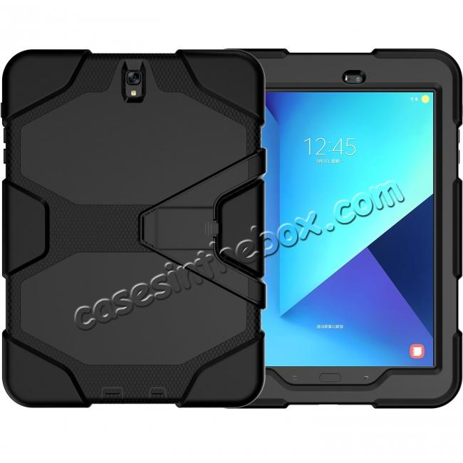wholesale PC+Silicone Hybrid Kickstand Rugged Armor Case for Samsung Galaxy S3 9.7 T820/825 - Black