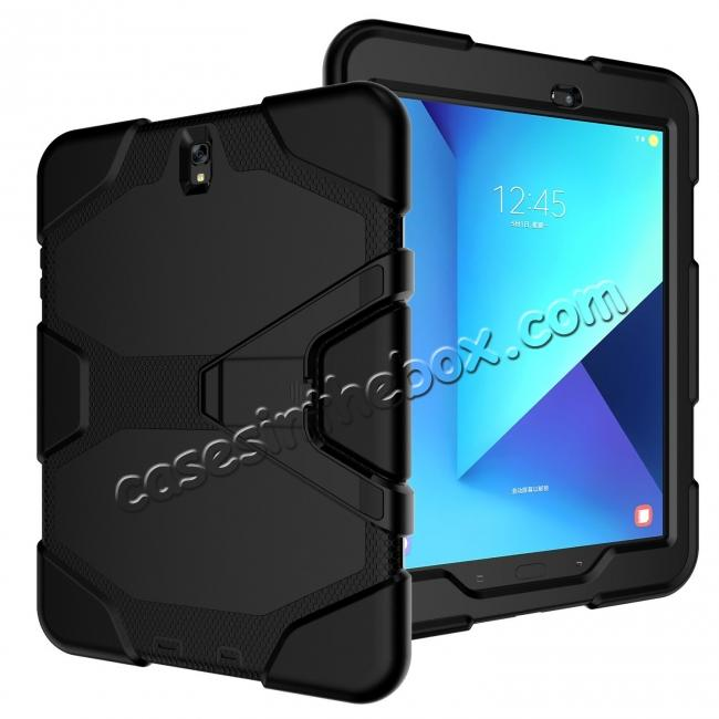 top quality PC+Silicone Hybrid Kickstand Rugged Armor Case for Samsung Galaxy S3 9.7 T820/825 - Black