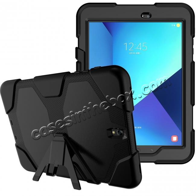 best price PC+Silicone Hybrid Kickstand Rugged Armor Case for Samsung Galaxy S3 9.7 T820/825 - Black