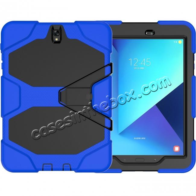 wholesale PC+Silicone Hybrid Kickstand Rugged Armor Case for Samsung Galaxy S3 9.7 T820/825 - Blue