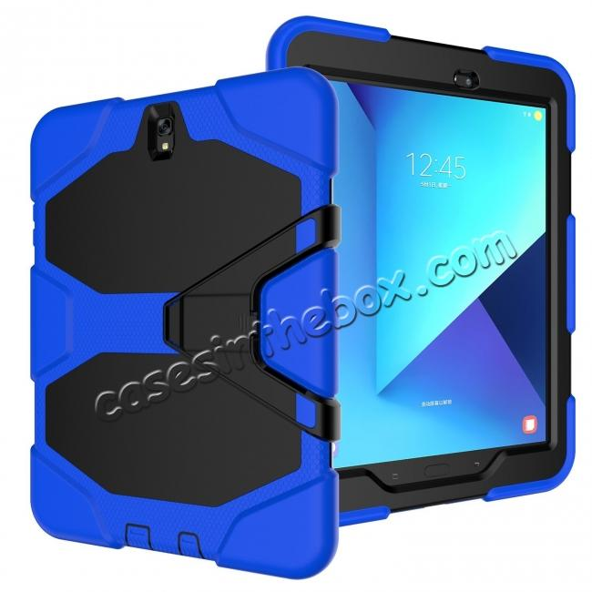 discount PC+Silicone Hybrid Kickstand Rugged Armor Case for Samsung Galaxy S3 9.7 T820/825 - Blue
