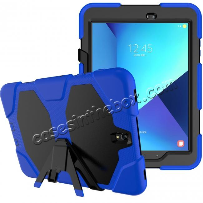 best price PC+Silicone Hybrid Kickstand Rugged Armor Case for Samsung Galaxy S3 9.7 T820/825 - Blue