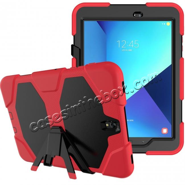 top quality PC+Silicone Hybrid Kickstand Rugged Armor Case for Samsung Galaxy S3 9.7 T820/825 - Red