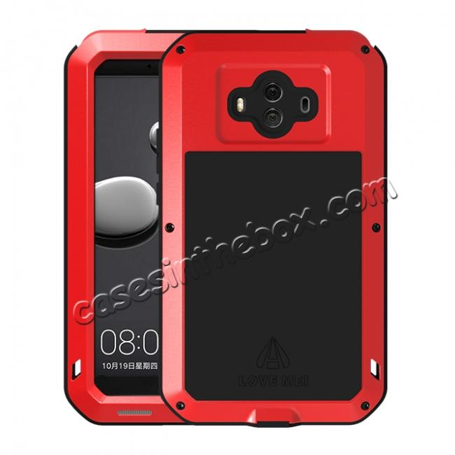 wholesale Powerful ShockProof Dustproof LifeProof Aluminum Case for Huawei Mate 10 - Red