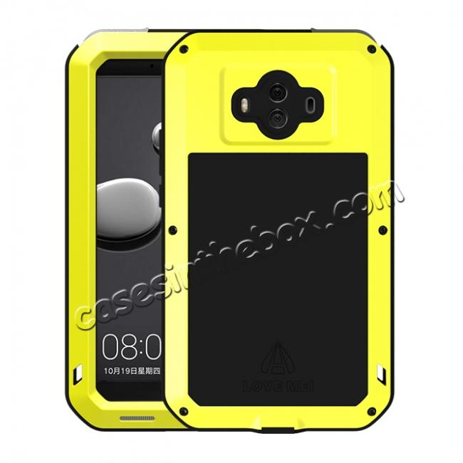 wholesale Powerful ShockProof Dustproof LifeProof Aluminum Case for Huawei Mate 10 - Yellow