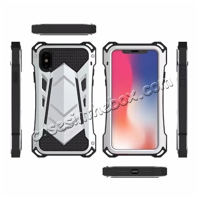 cheap R-JUST Armor Aluminum  Waterproof Shockproof  Case for iPhone X - Black