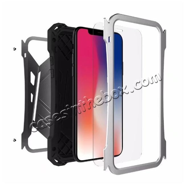 top quality R-JUST Armor Aluminum  Waterproof Shockproof  Case for iPhone X - Black