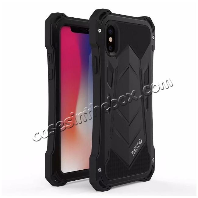 wholesale R-JUST Armor Aluminum  Waterproof Shockproof  Case for iPhone X - Black