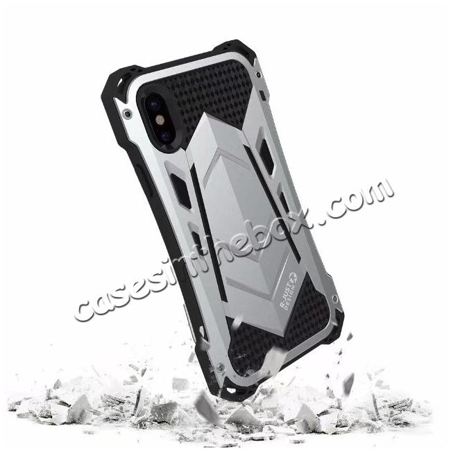 on sale R-JUST Armor Aluminum  Waterproof Shockproof  Case for iPhone X - Silver