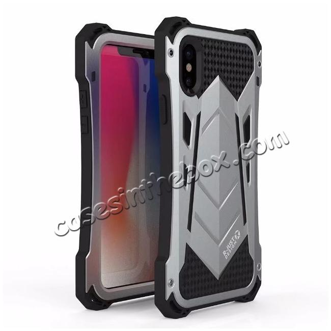 wholesale R-JUST Armor Aluminum  Waterproof Shockproof  Case for iPhone XS / X - Silver