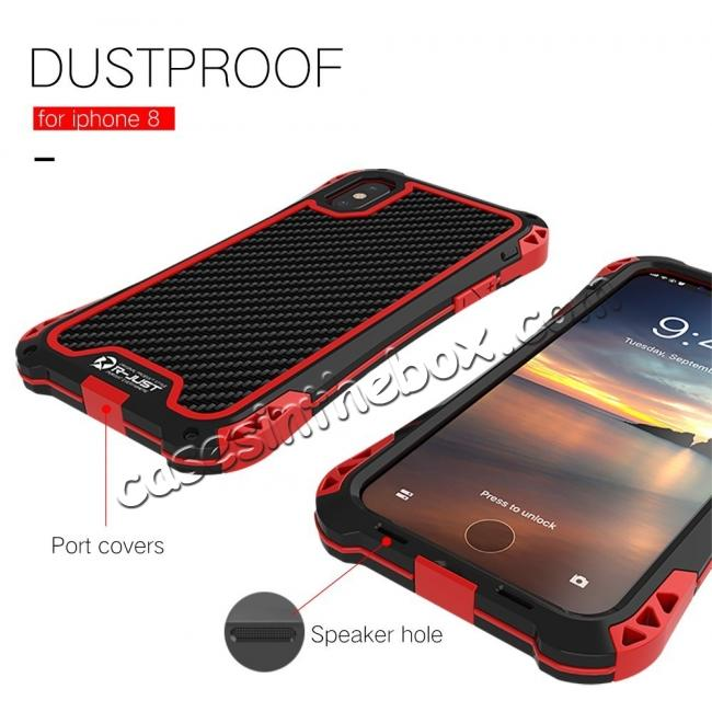discount Shockproof DropProof DirtProof Carbon Fiber Metal Gorilla Glass Armor Case for iPhone XS / X - Black&Red