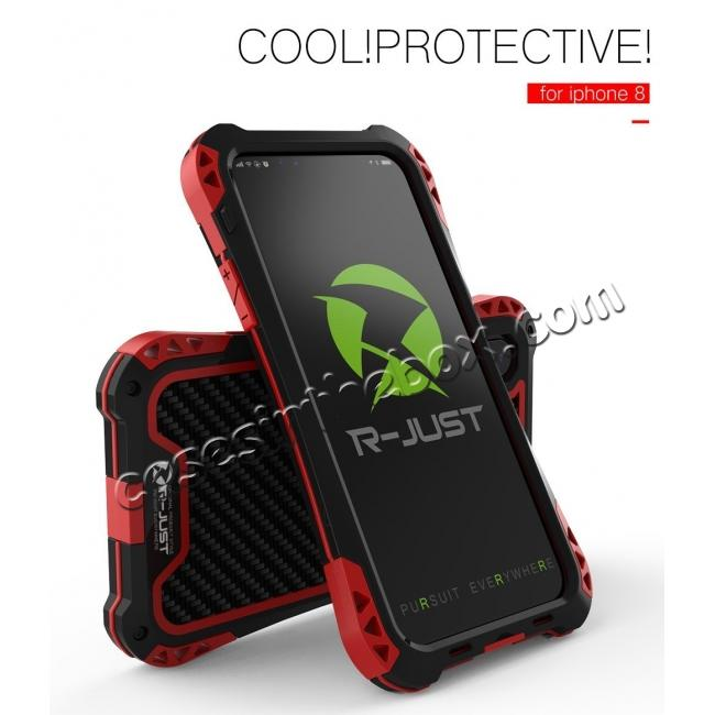 cheap Shockproof DropProof DirtProof Carbon Fiber Metal Gorilla Glass Armor Case for iPhone XS / X - Black&Red