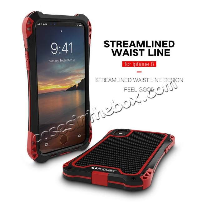 top quality Shockproof DropProof DirtProof Carbon Fiber Metal Gorilla Glass Armor Case for iPhone XS / X - Black&Red