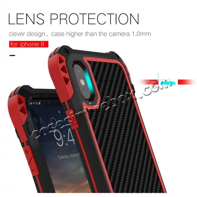 best price Shockproof DropProof DirtProof Carbon Fiber Metal Gorilla Glass Armor Case for iPhone XS / X - Black&Red
