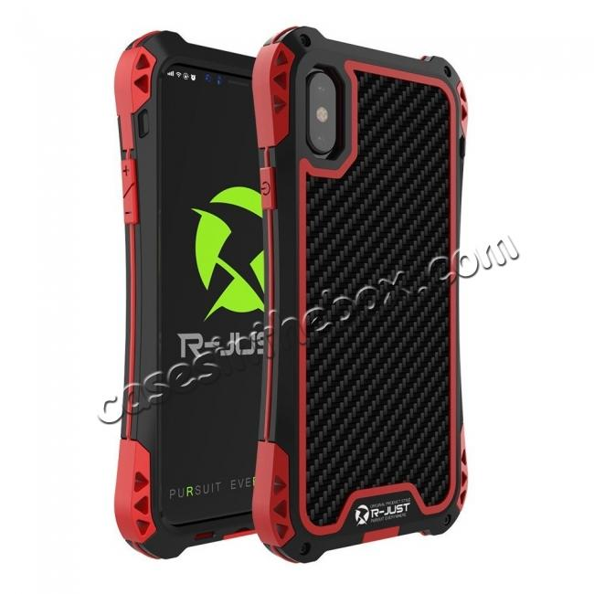 wholesale Shockproof DropProof DirtProof Carbon Fiber Metal Gorilla Glass Armor Case for iPhone XS / X - Black&Red