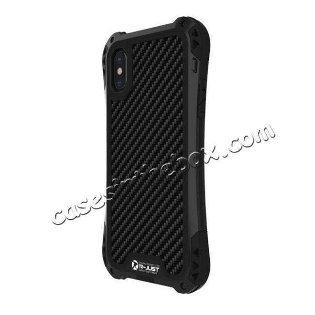 top quality Shockproof DropProof DirtProof Carbon Fiber Metal Gorilla Glass Armor Case for iPhone X - Black