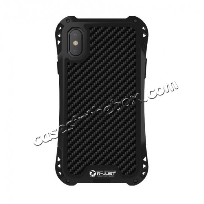 on sale Shockproof DropProof DirtProof Carbon Fiber Metal Gorilla Glass Armor Case for iPhone X - Black