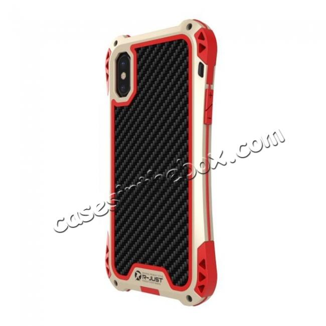 cheap Shockproof DropProof DirtProof Carbon Fiber Metal Gorilla Glass Armor Case for iPhone X - Gold&Red
