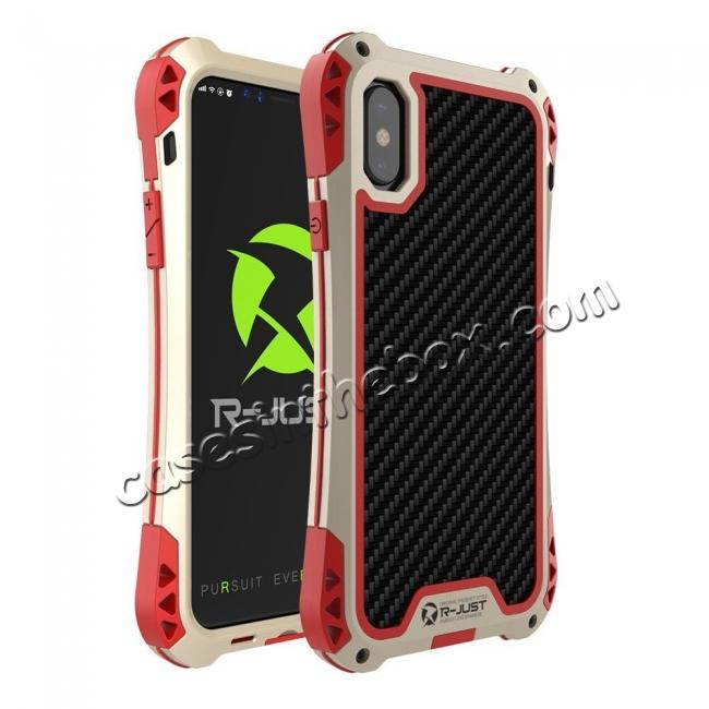 wholesale Shockproof DropProof DirtProof Carbon Fiber Metal Gorilla Glass Armor Case for iPhone X - Gold&Red