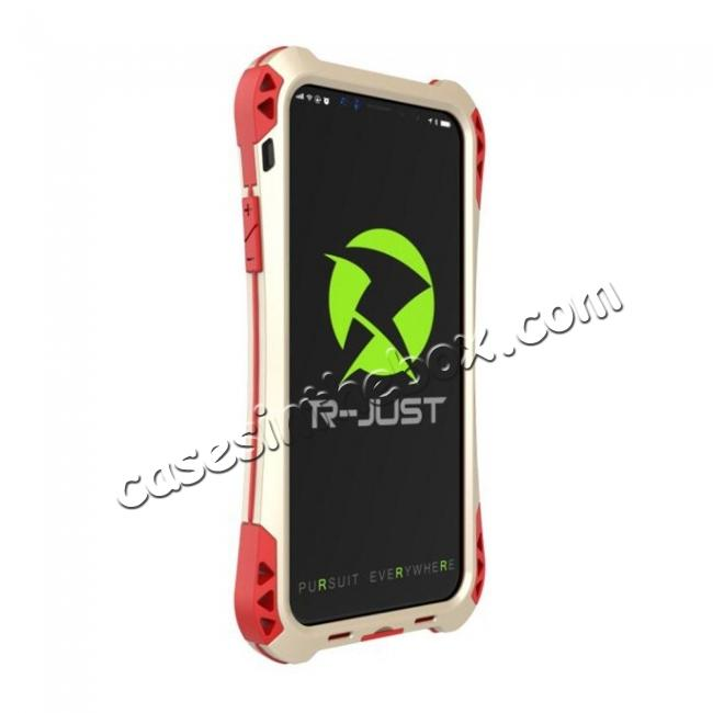 top quality Shockproof DropProof DirtProof Carbon Fiber Metal Gorilla Glass Armor Case for iPhone X - Gold&Red