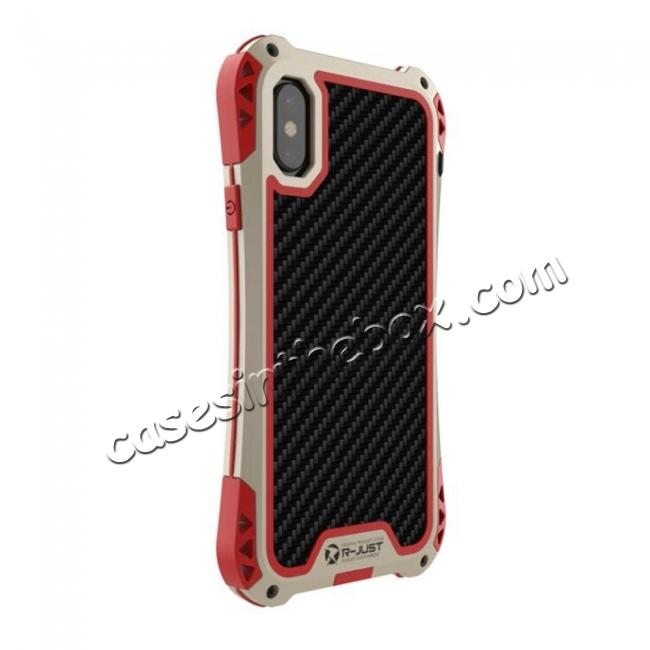 best price Shockproof DropProof DirtProof Carbon Fiber Metal Gorilla Glass Armor Case for iPhone X - Gold&Red