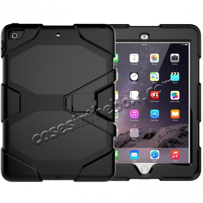wholesale Shockproof Rugged Cover Three Layer Hard PC+Silicone Case For New iPad 9.7Inch 2017 - Black