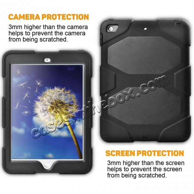 cheap Shockproof Rugged Cover Three Layer Hard PC+Silicone Case For New iPad 9.7Inch 2017 - Black
