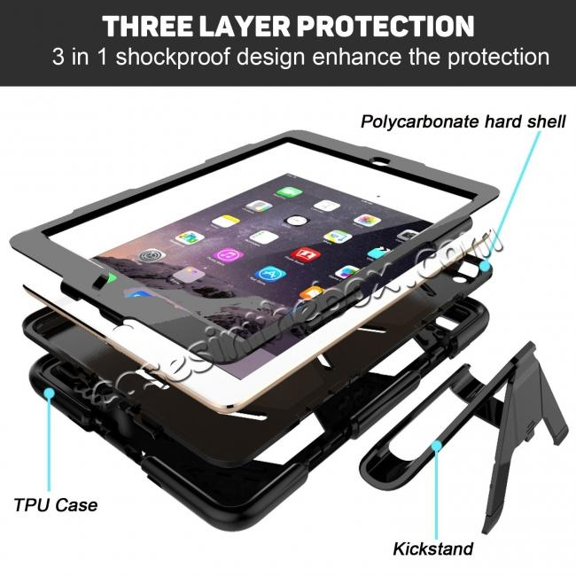 best price Shockproof Rugged Cover Three Layer Hard PC+Silicone Case For New iPad 9.7Inch 2017 - Black