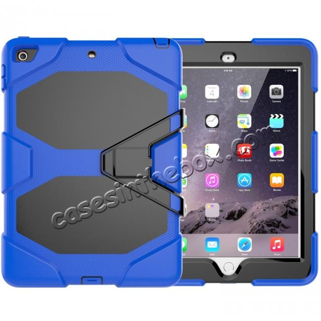 wholesale Shockproof Rugged Cover Three Layer Hard PC+Silicone Case For New iPad 9.7Inch 2017 - Blue