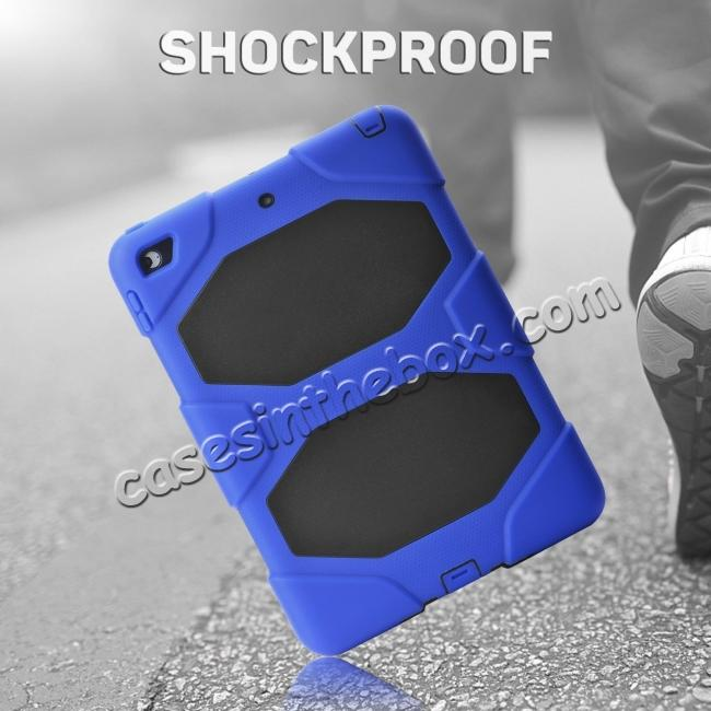 discount Shockproof Rugged Cover Three Layer Hard PC+Silicone Case For New iPad 9.7Inch 2017 - Blue
