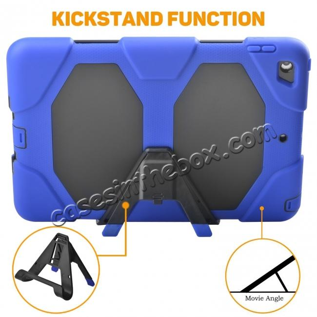 cheap Shockproof Rugged Cover Three Layer Hard PC+Silicone Case For New iPad 9.7Inch 2017 - Blue