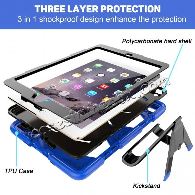 top quality Shockproof Rugged Cover Three Layer Hard PC+Silicone Case For New iPad 9.7Inch 2017 - Blue