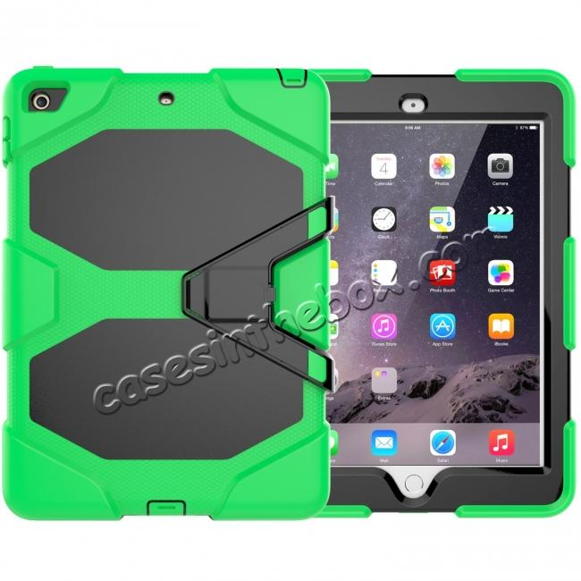 wholesale Shockproof Rugged Cover Three Layer Hard PC+Silicone Case For New iPad 9.7Inch 2017 - Green