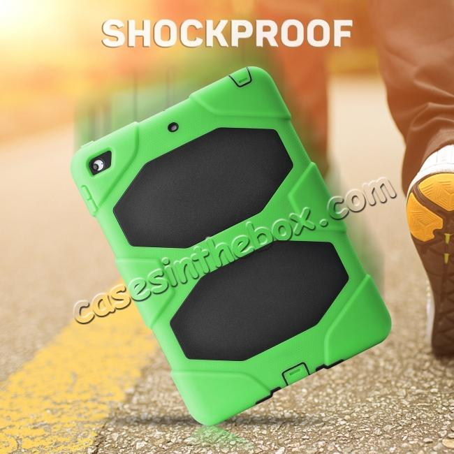 discount Shockproof Rugged Cover Three Layer Hard PC+Silicone Case For New iPad 9.7Inch 2017 - Green