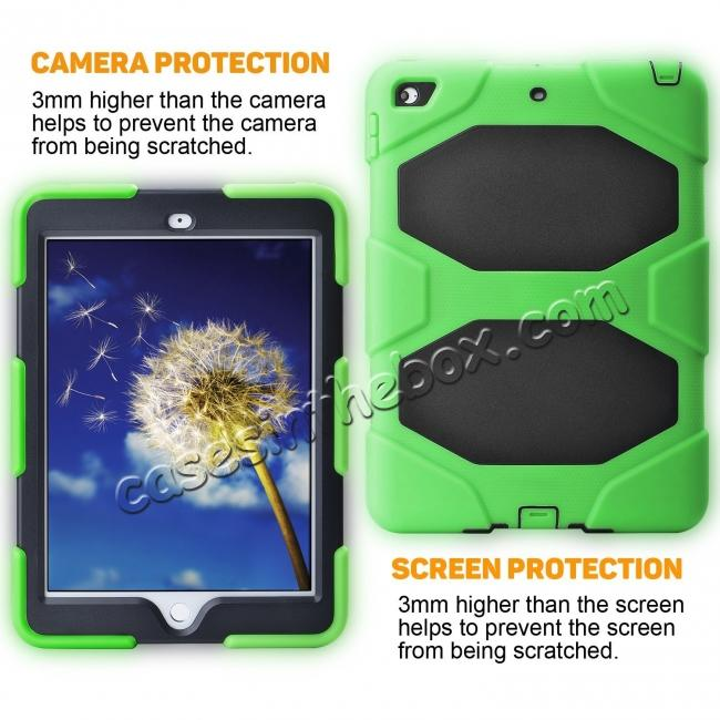 cheap Shockproof Rugged Cover Three Layer Hard PC+Silicone Case For New iPad 9.7Inch 2017 - Green