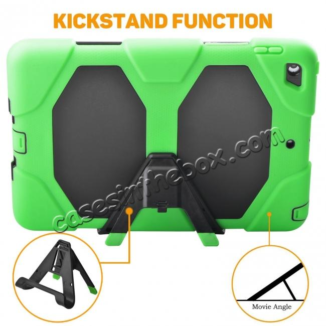 top quality Shockproof Rugged Cover Three Layer Hard PC+Silicone Case For New iPad 9.7Inch 2017 - Green
