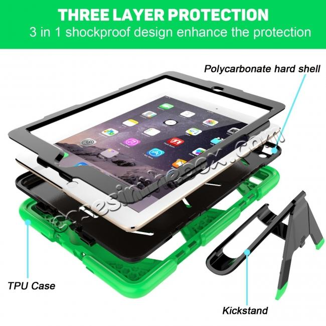 best price Shockproof Rugged Cover Three Layer Hard PC+Silicone Case For New iPad 9.7Inch 2017 - Green