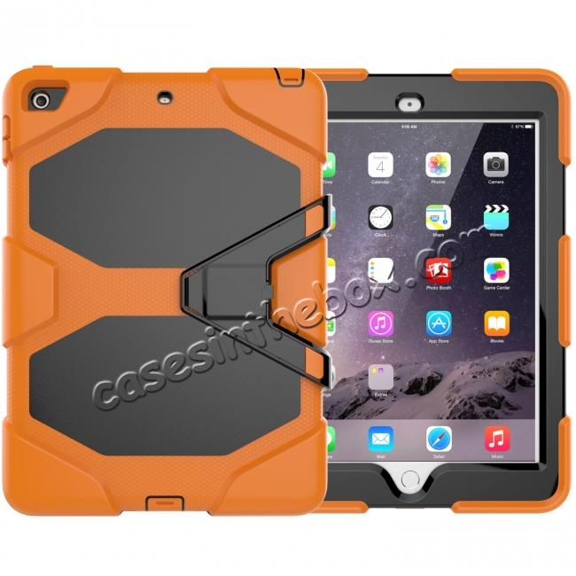 wholesale Shockproof Rugged Cover Three Layer Hard PC+Silicone Case For New iPad 9.7Inch 2017 - Orange