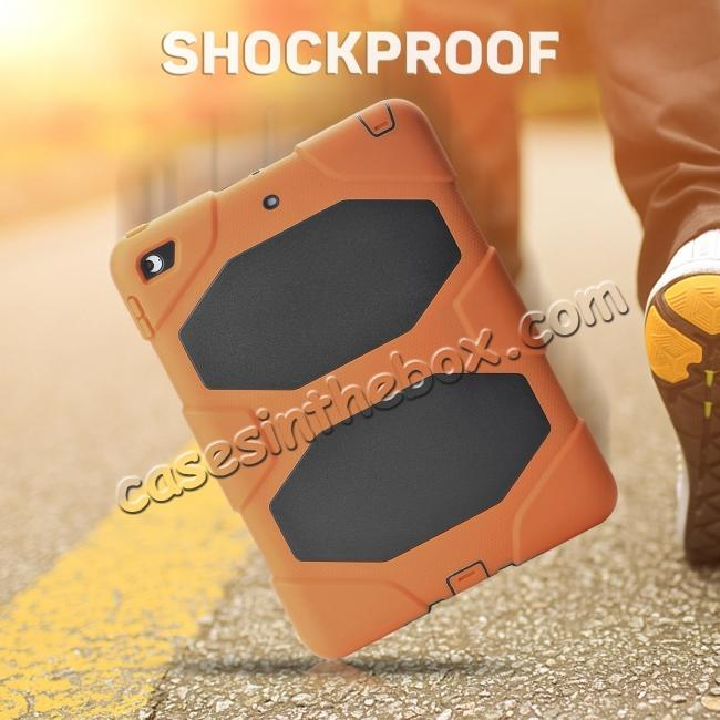 discount Shockproof Rugged Cover Three Layer Hard PC+Silicone Case For New iPad 9.7Inch 2017 - Orange