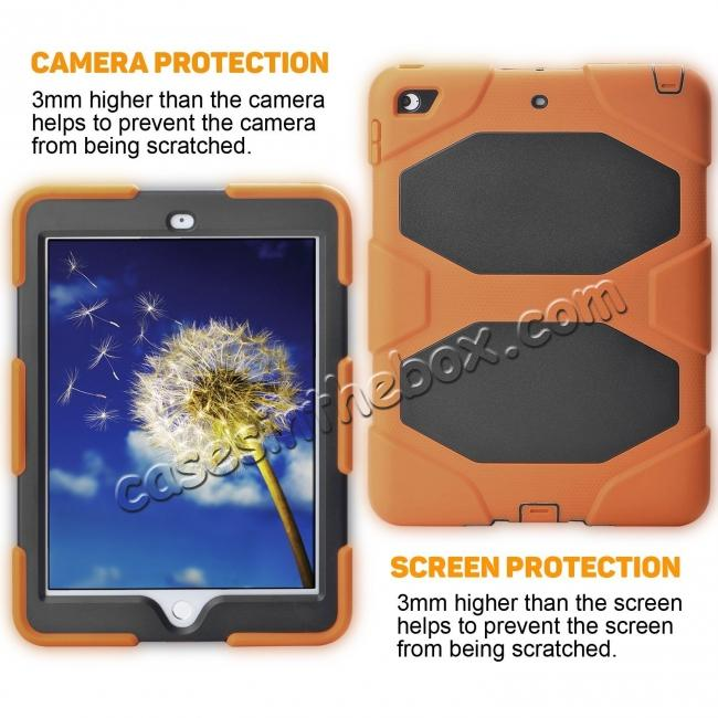 cheap Shockproof Rugged Cover Three Layer Hard PC+Silicone Case For New iPad 9.7Inch 2017 - Orange