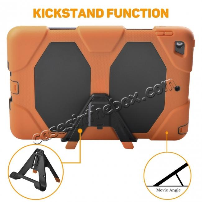 top quality Shockproof Rugged Cover Three Layer Hard PC+Silicone Case For New iPad 9.7Inch 2017 - Orange