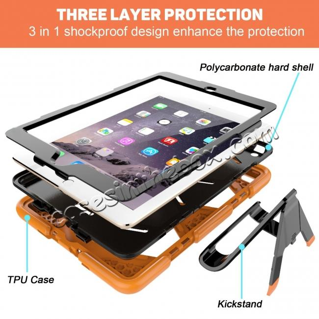best price Shockproof Rugged Cover Three Layer Hard PC+Silicone Case For New iPad 9.7Inch 2017 - Orange
